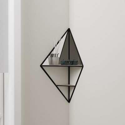 Corner Mirrored Shelf Black