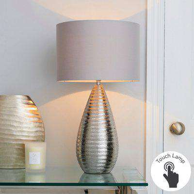 Costola Chrome Touch Dimmable Table Lamp Chrome, Light Grey