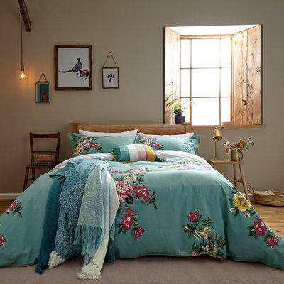 Joules Cotswold Floral Blue 100% Cotton Percale Duvet Cover Set Ocean Blue