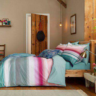 Joules Cotswold Stripe 100% Cotton Percale Duvet Cover Set MultiColoured