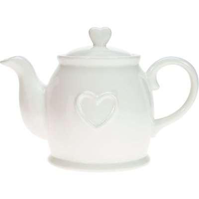 Country Heart Teapot White