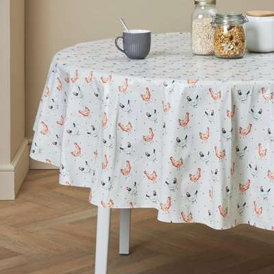 Country Hens Round PVC Tablecloth Grey