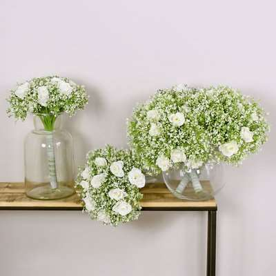 Cream Rose and Gypsophila Bouquet 6 pack Off-White