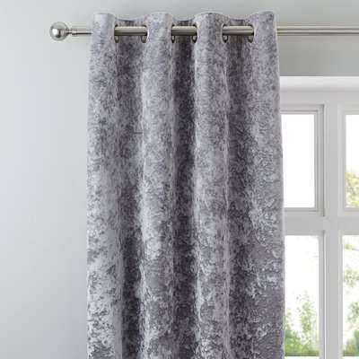 Crushed Velour Silver Eyelet Door Curtain Silver