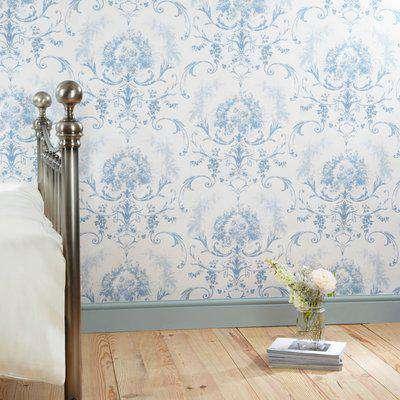 Dorma Blue Toile Wallpaper Blue / White