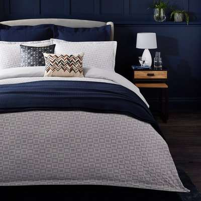 Dorma Bowden Jacquard Matelasse 100% Cotton Grey Duvet Cover and Pillowcase Set White