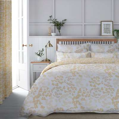 Dorma Daylesford 300 Thread Count Cotton Sateen Duvet Cover and Pillowcase Set Yellow and White