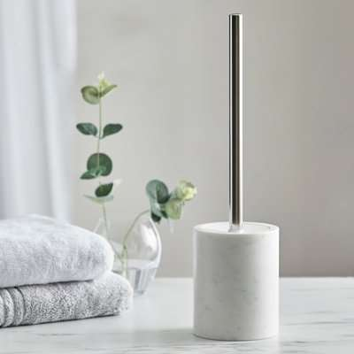 Dorma Purity Marble Toilet Brush Holder Natural White