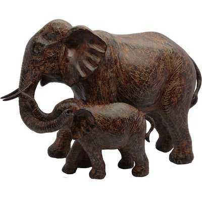 Dorma Mother and Baby Elephant Sculpture Brown