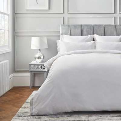 Dorma Purity Chesten 300 Thread Count Cotton Sateen Duvet Cover and Pillowcase Set White