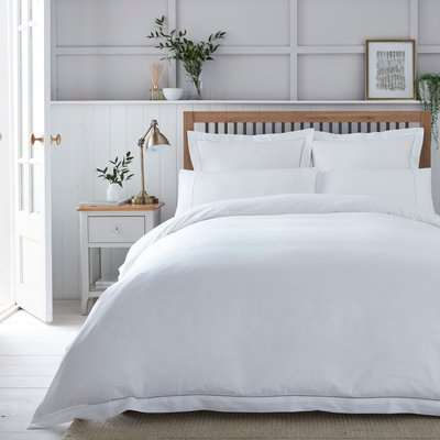 Dorma Purity Hayle 300 Thread Count Cotton Sateen Duvet Cover and Pillowcase Set White