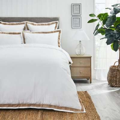 Dorma Purity Hemsby 300 Thread Count Cotton Sateen Duvet Cover and Pillowcase Set White