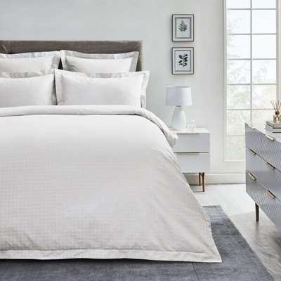 Dorma Purity Marlia White Cotton Jacquard Duvet Cover and Pillowcase Set White