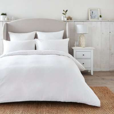 Dorma Purity Nimes 300 Thread Count Cotton Sateen Duvet Cover and Pillowcase Set White