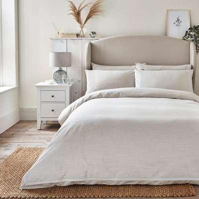 Dorma Purity Silbury Silver Silk Trim 300 Thread Count Duvet Cover and Pillowcase Set Beige