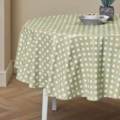 Dotty Round PVC Tablecloth Green / Sage Green