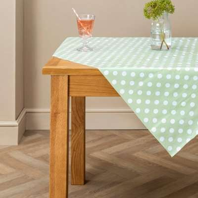 Dotty Square PVC Tablecloth Green / Sage Green