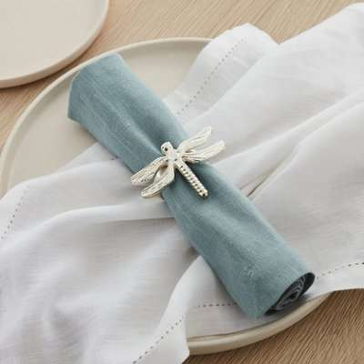 Dragonfly Napkin Ring Set of 2 Silver