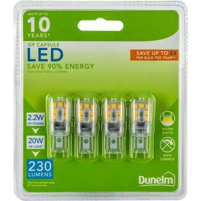 Dunelm 2.2 Watt G9 LED Warm White Light Bulb 4 Pack Clear