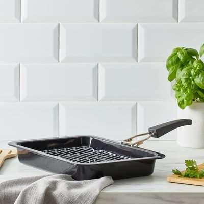 Dunelm Grill Pan with Detachable Handle Black