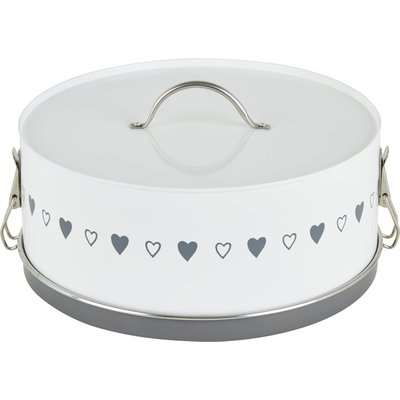 Dunelm Life Is What You Bake Of It Clip Top Cake Tin White and Grey