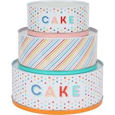 Dunelm Rainbow Cake Tins Blue, Red and Yellow