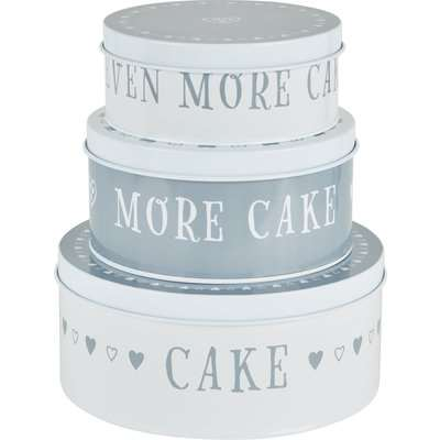 Dunelm Set of 3 Life Is Cake Tins Grey and White