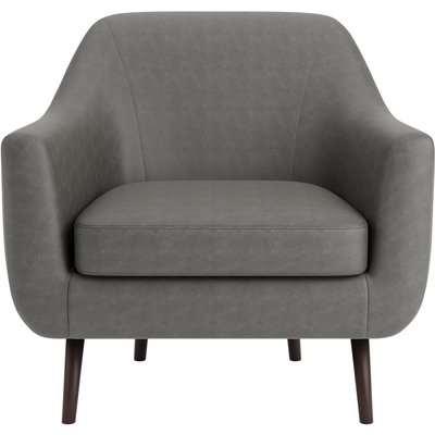 Eddie Distressed Faux Leather Tub Chair Grey