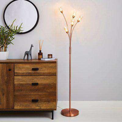Eden 5 Light Floor Lamp Copper Brown