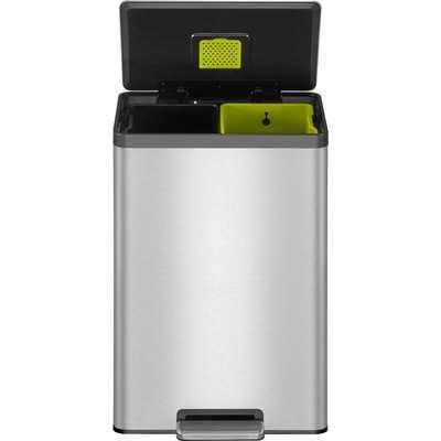 EKO Ecocasa II 20/20 Litre Stainless Steel Recycling Pedal Bin Silver