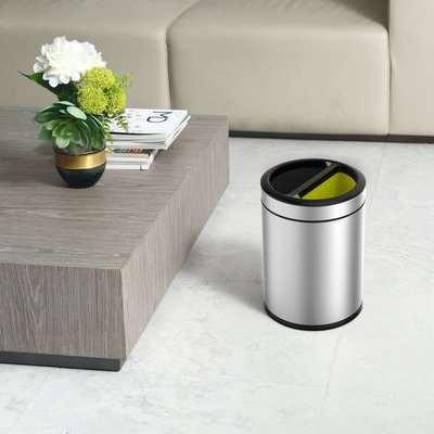 EKO Round Open Top 5/5 Litre Recycling Bin Silver