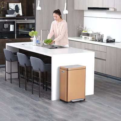 EKO X Cube 20/20 Litre Copper Recycling Pedal Bin Gold and Grey