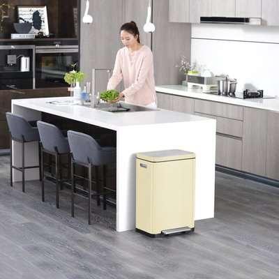 EKO X Cube 20/20 Litre Cream Recycling Pedal Bin Cream and Silver