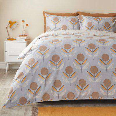 Elements Asa Silver Brushed Cotton Duvet Cover and Pillowcase Set Silver