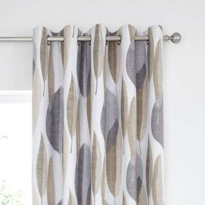 Elements Enya Blackout Eyelet Curtains White, Grey and Brown