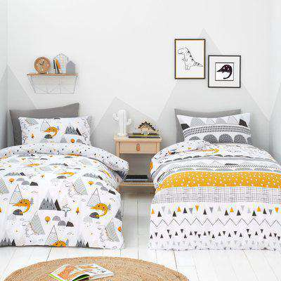 Elements Geosaurus 100% Cotton Duvet Cover and Pillowcase Twin Pack Set Grey, Yellow and White