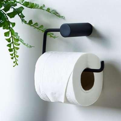 Elements Matt Black Toilet Roll Holder Black