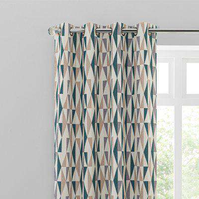 Elements Triangles Peacock Eyelet Curtains Green, Brown and White