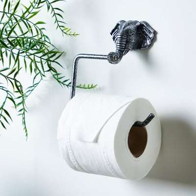 Elephant Toilet Roll Holder Silver