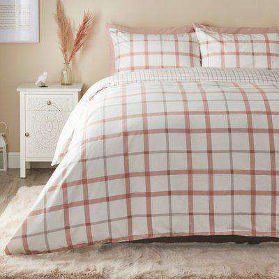 Elouise Pink Brushed Cotton Duvet Cover and Pillowcase Set Pink