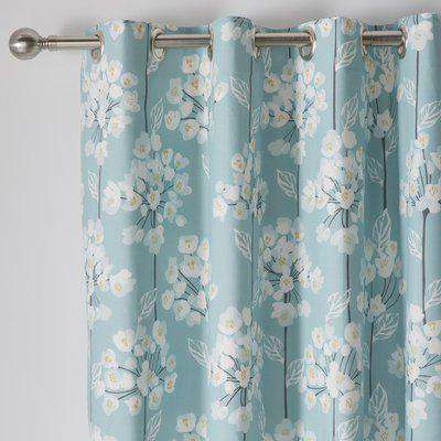 Erin Teal Eyelet Curtains Blue, Blush and White