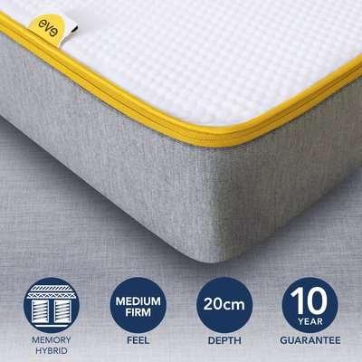 Eve Medium Firm Hybrid Mattress Grey, White and Yellow