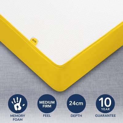 Eve Medium Firm Original Memory Foam Mattress Yellow