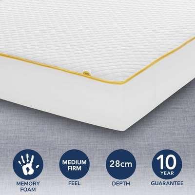 Eve Premium Medium Firm Memory Foam Mattress White and Yellow