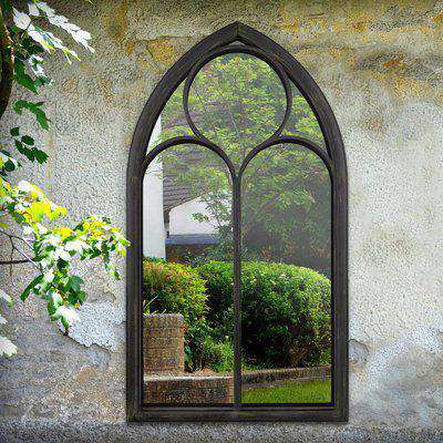 Extra Large Gothic Black Stone Outdoor Mirror Black