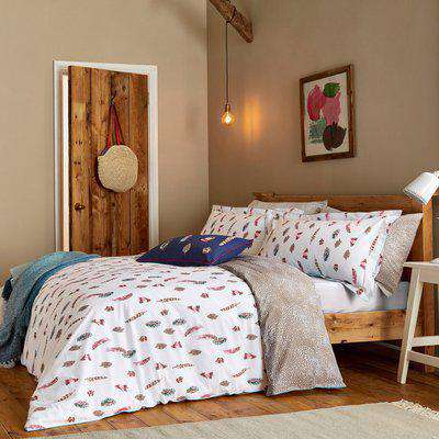 Joules Feathers Chalk 100% Cotton Percale Duvet Cover Set Chalky White