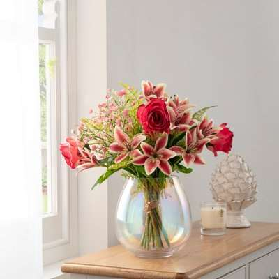 Florals Forever Anna Tiger Lily Luxury Bouquet Pink 63cm Pink, Green and Clear