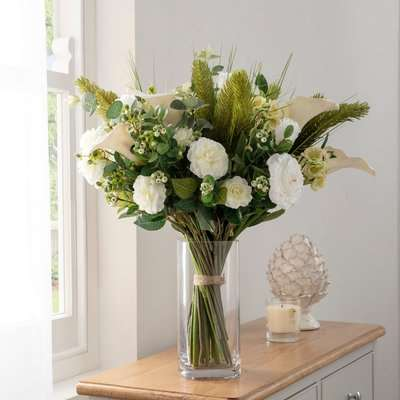 Florals Forever Charlotte Calla Lily Luxury Bouquet White 63cm White, Green and Clear