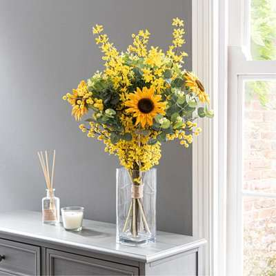 Florals Forever Ella Sunflower Luxury Bouquet Yellow 63cm Yellow and Green