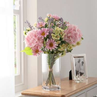 Florals Forever Freya Hydrangea Luxury Bouquet Pink 63cm Pink, Green and Yellow